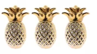 NEW  Gold PINEAPPLE JAR TEA COFFEE SUGAR CANISTER 3PC STORAGE POT