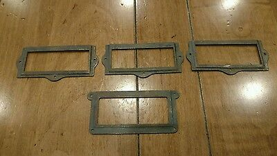 Vintage Lot Of 4 Metal Bin Label Drawer Name Plaque Frames