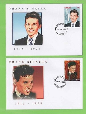 Guyana 1998 Frank Sinatra on two First Day Covers