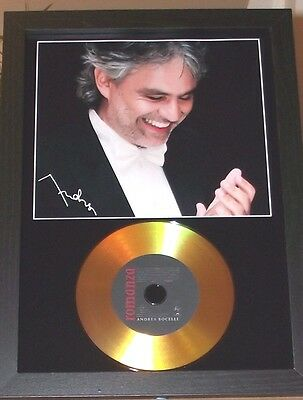 ANDREA BOCELLI SIGNED PHOTO AND GOLD DISC DISPLAY....Romanza