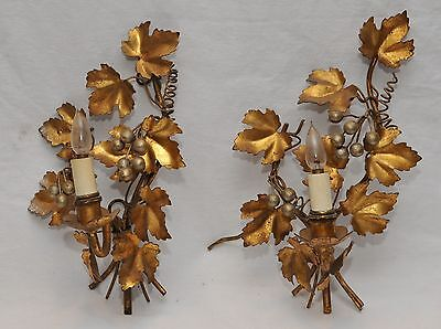 "PAIR of 2 VINTAGE 1930's ART DECO GOLD SCONCES LIGHTS 12"" tall x 8"" wide"