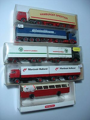 4 X Wiking Ho Lorries And 1 Bus -Boxed