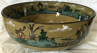 Fox Hunt Hunting Buffalo Pottery Deldare Ware Large Fruit or Serving Bowl