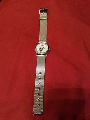 """Accutime Disney """"mickey Mouse"""" Ladies Watch With Adjustable Silver Metal Band"""