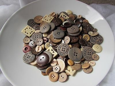 Natural Wooden Button Assortment in Asst Sizes & Packs of 10, 20, 50 or 100