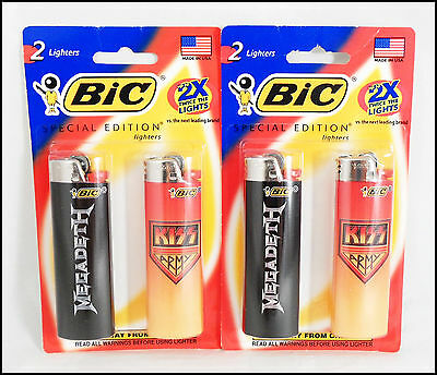 KISS Army & Megadeth 2008 Limited Edition Bic Lighters NIP