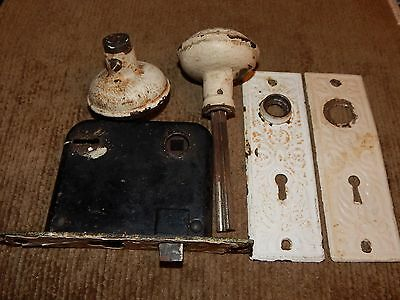 ANTIQUE, Vintage, Original!  Matched Pr. Steel Door Plates, Knobs & Lock Box Set