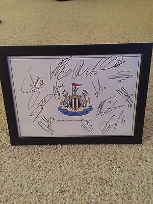 Hand Signed & Framed (x13) Newcastle United Football Club A4 2016/17 Squad Sheet