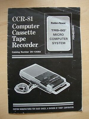 CCR-81 Computer Cassette Tape Recorder Manual Radio Shack Tandy