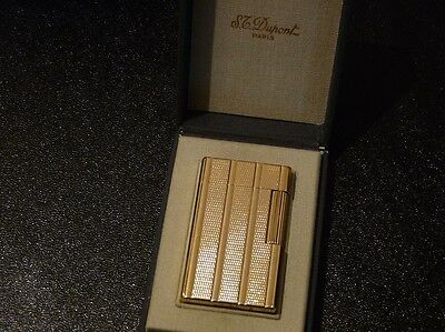 S T Dupont Line1 Large Gold Plated Lighter - Boxed - Stunning