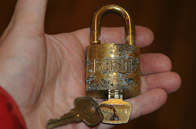 Vintage Sargent Pad Lock heavy High quality Brass Barrel Brass Shackle 2 Keys.