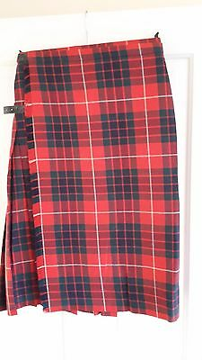Macnaughtons Of Pitlochry Womens Red & Dark Blue Tartan Pleated Kilt, Size 12
