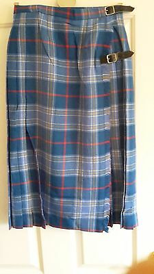 Women's Meigle Made In Scotland Blue Orange & Red Pleated Kilt Size 10 And Scarf