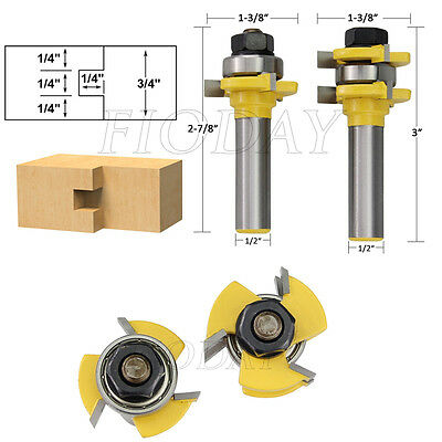 "2pcs Tongue & Groove Router Bit Set 3/4"" Stock 1/2"" Shank For Woodworking Tools"
