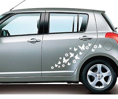 Car Stickers - 30 Peel & Stick BUTTERFLIES & FLOWERS - Various Colours Available
