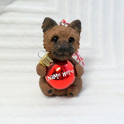 Personalized Cairn Terrier Ornament Polymer Clay DOG sculpted by Raquel