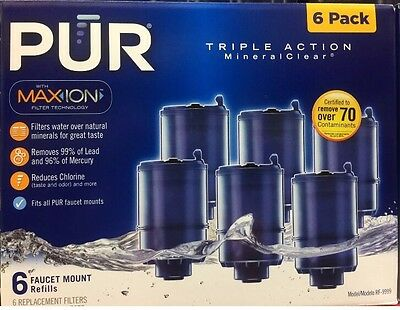 NEW PUR MineralClear Faucet 3 Stage Refill Filters 6 Pack  RF-9999 Blue SEALED