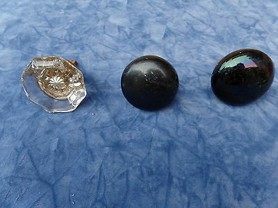 Antique Door Knobs Set Of 3 - 2 Black - 1 Glass Priced To Sell Re-Purpose Re-Use