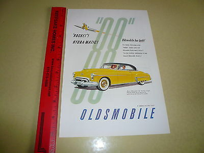 Oldsmobile 88 Holiday Coupe Rocket Hydra-Matic Ad Advertisement - Vintage