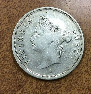 {Bjstamps} 1900-H Straits Settlements Victoria Queen 50 Cents Silver