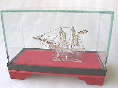 ANTIQUE  SILVER  FILIGREE HAND MADE  SAIL  BOAT .in GLASS CASE VGC