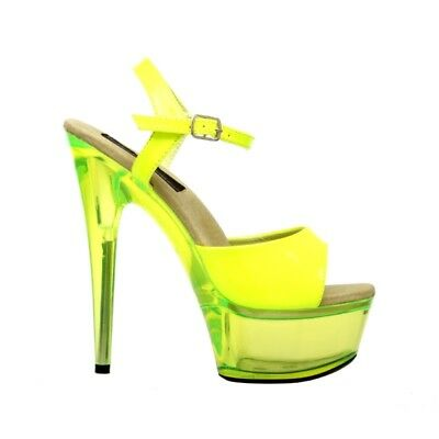 The Highest Heel Women's Glow-101-Neon Yellow Platform Sandal US Size