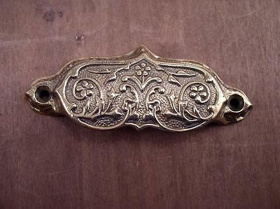 Ornate Solid Brass Victorian Drawer Pulls Store Bin Handles, New Old Stock