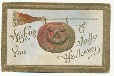 Halloween PC ca. 1908 * Scary JOL Hanging From Witches Broom * Embossed