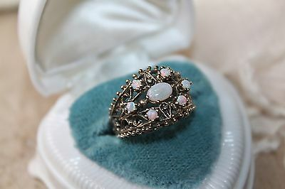 VICTORIAN Antique 14k Gold on STERLING Precious OPAL Cocktail Cluster ring 6.5