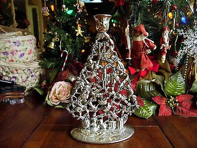 "Used Silver Tone Metal Christmas Tree Candle Holder. 10 1/4 ""h X 6.5""w"