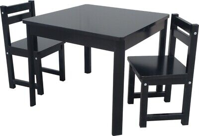 Kids Timber Table and Chair Set in Colour Black Boys Girls Indoor Outdoor