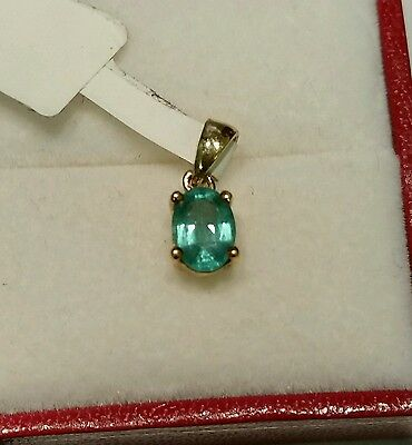 Aaa Top Quality Certificated 9Ct Gold Zambian Emerald Pendant