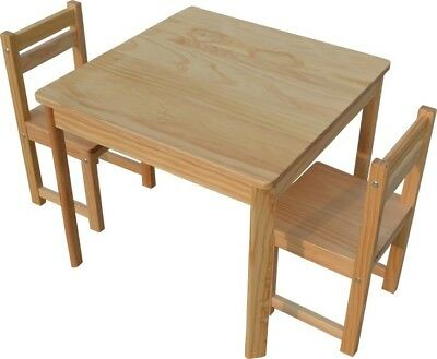 Kids Timber Table and Chair Set in Colour Natural Boys Girls Indoor Outdoor