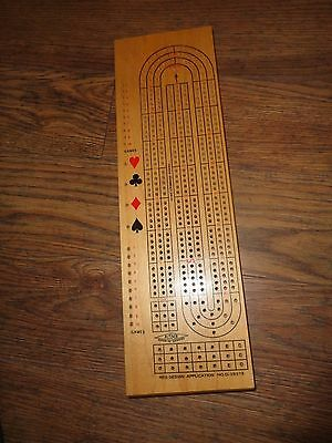 Acme 3 Player Cribbage Board with Storage Drawer in Bottom - Ex.Condition