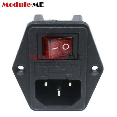 Red&Black AC 250V 10A 3 Pin Terminal Black Red Power Socket With Fuse Holder UK