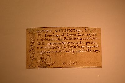 December 1771 North Carolina Colonial Note- Ten Shillings- Very Fine with pin ho