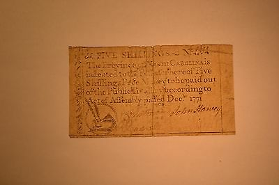 December 1771 North Carolina Colonial Note- Five Shillings- Very Fine with pin h