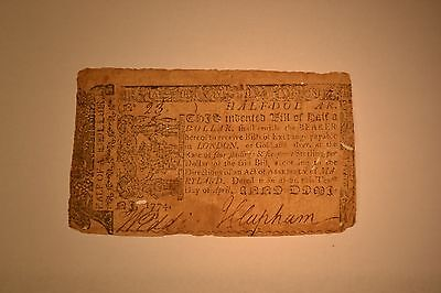 April 10, 1774 Maryland Colonial Note- Half Dollar- Fine with several small hole