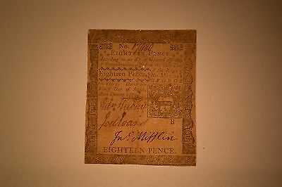 April 3, 1772 Pennsylvania Colonial Note- Eighteen Pence.  Fine- Pin Holes