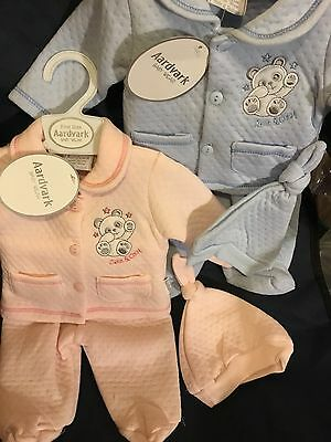 Premature Tiny Baby Newborn Boy Girl 3-5Lbs 5-8Lbs Pink Blue Babygrow Set & Hat