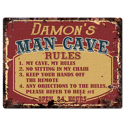 PPMR0357 DAMON'S MAN CAVE RULES Rustic Tin Chic Sign man cave Decor Gift