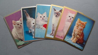 Set of 6 Single Swap/Playing Cards - Vintage Cats