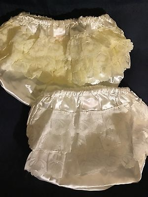 Baby Girls Satin Frilly Knickers White or Ivory Lace 0-6 6-12 12-18 Months Party