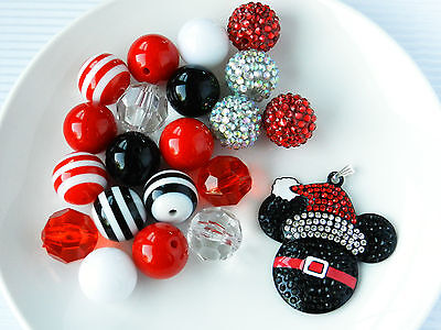 Chunky Bubblegum Bead Mickey Mouse Inspired Red Christmas Necklace Kit 21 pc #20