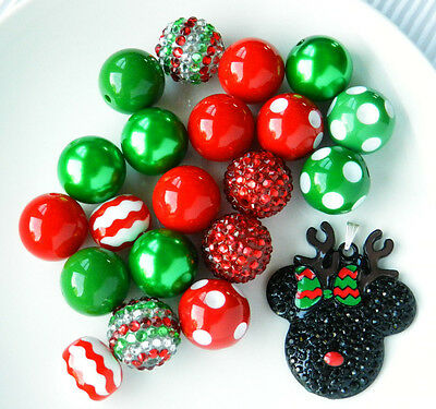 Chunky Bubblegum Bead Minnie Mouse Inspired Red Christmas Necklace Kit 21 pc #22