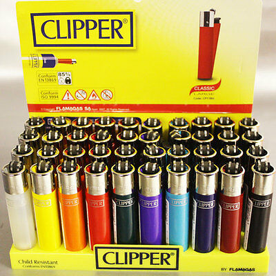 GENUINE Solid Coloured CLIPPER Flint Gas Refillable Lighters 10/20/30or FULL BOX
