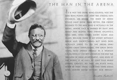 Theodore Teddy Roosevelt 13x19 Poster With the Man in the Arena Quote With Hat