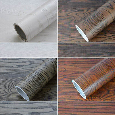 1M  Self Adhesive Wallpaper Wood Grain Furniture Vinyl Sticker Film