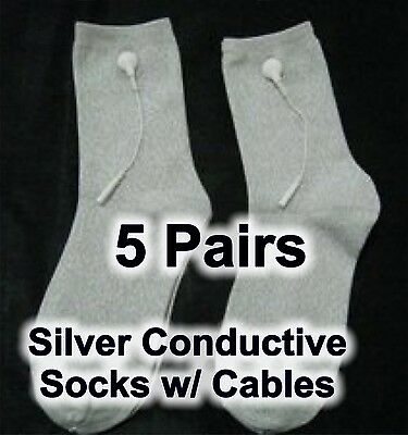 5X Silver Conductive Socks w/ TENS cables - Feel Calm and Sleep Better!