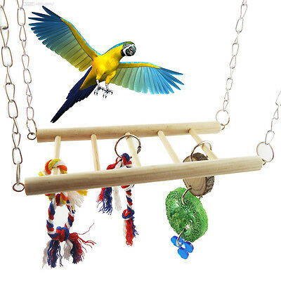Pet Bird Cockatiel Parrot Cage Swing Hanging Rope Chew Bridge Toy Hammock Budgie
